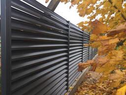 Забор жалюзи (ламели) 7024/7024 глянец двусторонний