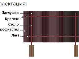 Забор из металлопрофиля с металлическими столбами
