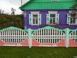 Железобетонный забор «Кирпичик открытый и цветок»-палисадник